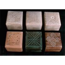 """4''x 4""""Decorative Design & Colors Square Wooden Box"""