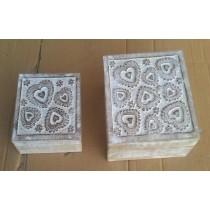 Decorative Heart Wooden Box Whitewashed Finish(set/2)