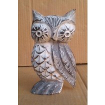 "6""Antique Cream Decorative Brown washed Owl"
