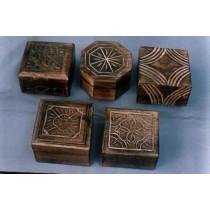 "Decorative Shape & Design  Mango Wood Box(4'' x 4 "")"