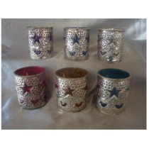Decorative star design glass with metal  votive size-5 X 4