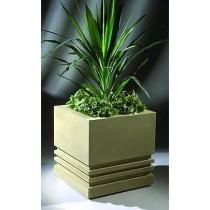 "Square Decorated Fiberglass Planter (Size 24"" X 24')"