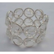 Iron Wire Napkin Ring With Beads White