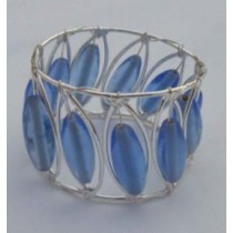 Blue Beads With Silver Wire Iron Napkin Ring