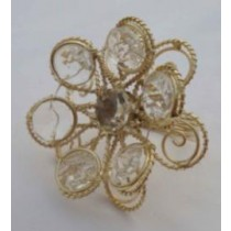 Golden Iron Wire Napkin Ring With Beads White