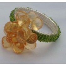 Mustered & Green Flower Beads Iron Napkin ring