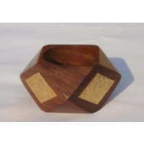 Wooden Napkin Ring With Brass Stuck