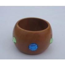 Green & Blue Stones Wooden Napkin Ring