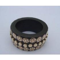 Wooden Napkin Ring Brass Beads Stuck