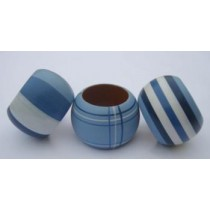 Set Of 3 Blue Wooden Napkin Rings