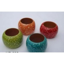 Wooden Napkin Ring Spotted Multicolored (Set Of 4)
