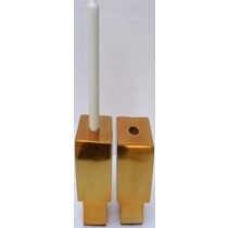 Aluminium Candle stand Gold plating, size 8x8x14 CM