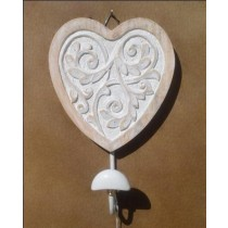 Distress White Curved Heart Mango Wood Wall Hook 15 X 15 CM