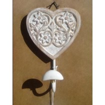 Distress White Curved Heart Wood Wall Hook 12 X 12 CM