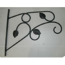 "Black Designer With Leaf Design Hanging Basket Bracket 14"" L x 12"" H"