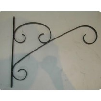 "Black Scrolled Hanging Basket Brackets 14.5"" L x 12"" H"