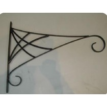 "Black Designer Hanging Basket Bracket 6"" L x 12"" H"