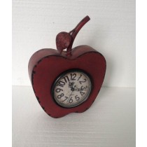 Red Shabby Apple Shape Metal Table Top Clock