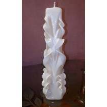 "10"" Hand Carved White Cut & Curls Candle"