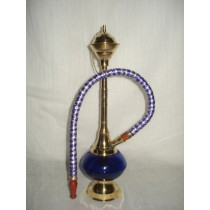10'' Antique Style Blue Glass & Brass Hookah