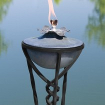 12 Inch Zinc Garden Torch With Yard Stake