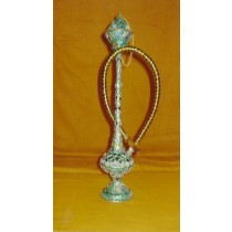 14'' Decorative Green Shine Brass Single Hose Hookah
