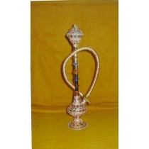14'' Decorative Peach Stone Work Brass Mini  Hookah