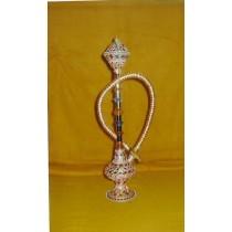 14'' Decorative Peach Stone Work Brass Mini  Hookah