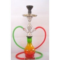 19'' Double Green & Red Hose Hookah Pot Base