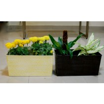 20'' Set Of 2 Rectangle Galvanized Metal Planter
