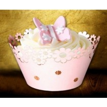 22*5.5cm Pink Flower Cup Cake Wrapper