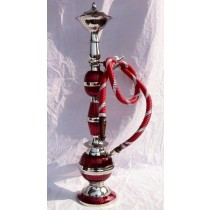 22'' Red & Silver Carved Brass Hookah