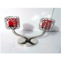 2 Arms Red Glass Crystal Votive Candelabras