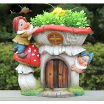 2 Garden Gnome Red Mushroom Planter