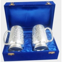 2 Pcs Beer Mug Set In Velvet Box, 4 Inches