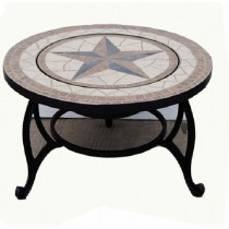 "30"" Round Table with 20 inch Black Steel Firepit"