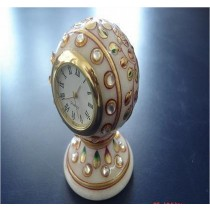 "3"" Decorative White Marble Watch With Gold Work"