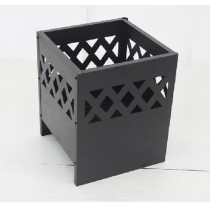 40cm Metal Sheet Black Firebasket with Fence Pattern