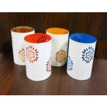 4 Inches Iron Etching Votive Set