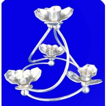 4 Lights Lotus Candle Stand, 8 Inches