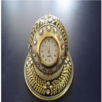 "4"" X 3"" Decorative White Marble Watch With Golden Work"