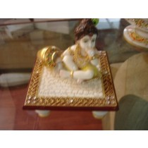 "4"" X 4"" Decorative marble Short Stool With Krishna Statue"