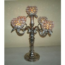 5 Arm Crystal Ball Votive Candelabras
