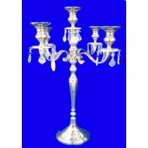 5 Lights Aluminium Candle Stand With Crystal Drops, 25 Inches