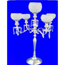 5 Lights Candle Stand With Round Crystal Balls 34 Inches