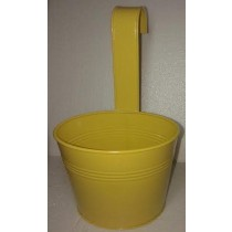 Yellow 13 Inch Round Metal Pot With Handle