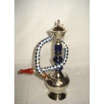 6'' Traditional Blue Acrylic Glass & Brass Hookah