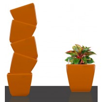 6 Set of Orange Square Self Watering Plastic planter