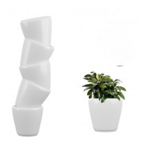 6 Set of White Round Self Watering Plastic planter