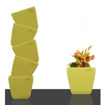 6 Set of Yellow Square Self Watering Plastic planter